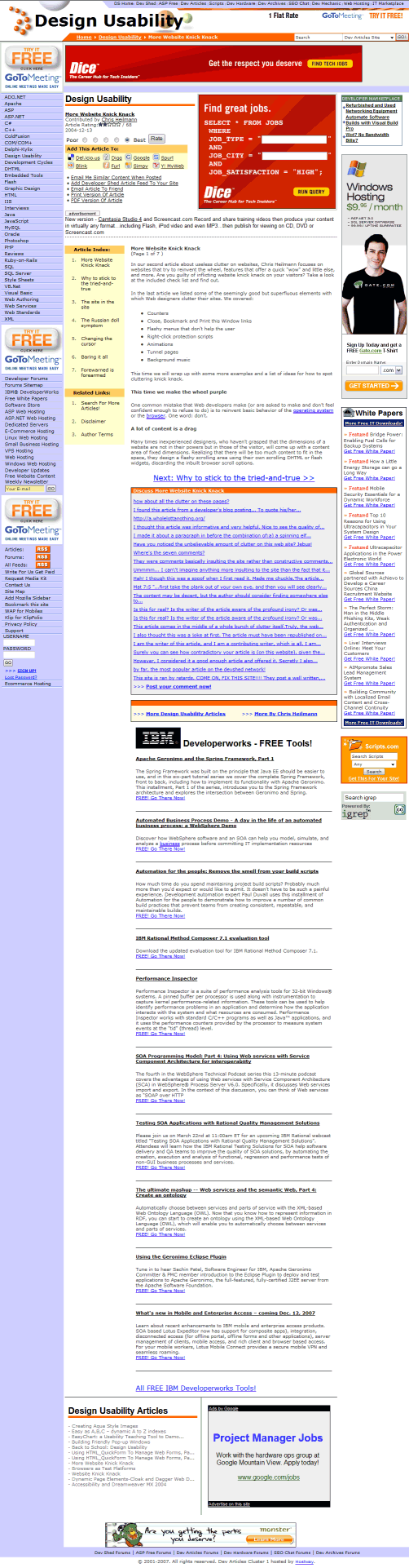 screenshot of the 'Reducing Useless Clutter on Websites' article