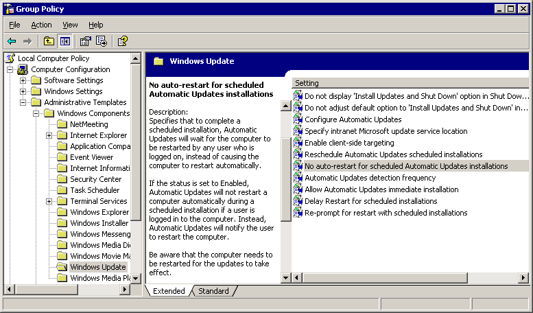 Windows Update group policies screenshot