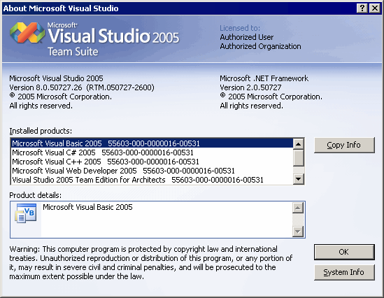 About Visual Studio .NET 2005 RTM