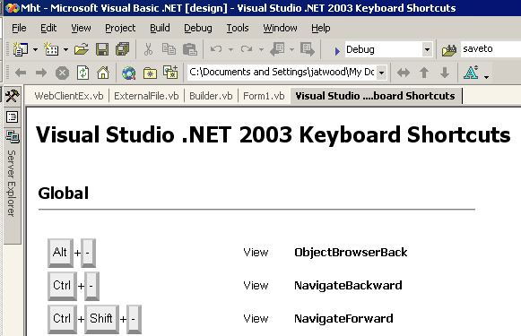 VS.NET keyboard shortcut summary macro screenshot