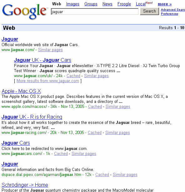 A Google search for the word 'jaguar'