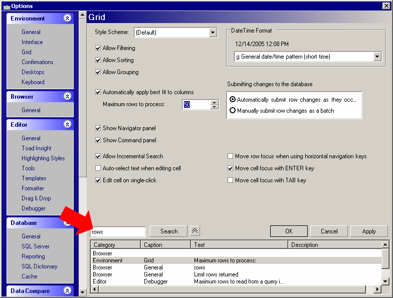 Toad for SQL Server options dialog