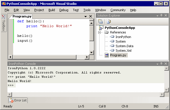 Visual Studio 2005 Python 'Hello World' Project