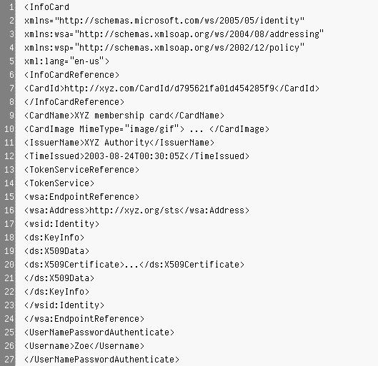 Infocard XML