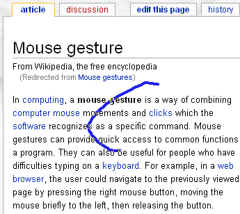 A mouse gesture on the Wikipedia page (close window)