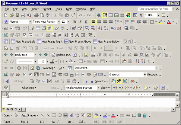 Microsoft Word with all toolbars visible