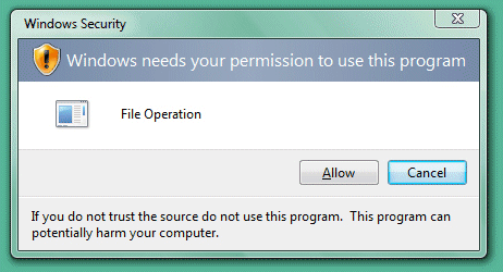 Windows Vista permission dialog