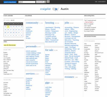 Craigslist Austin homepage redesigned
