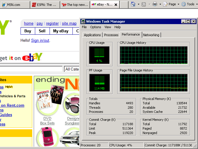 Windows XP SP2, in a 128mb VM, running IE7 SP3