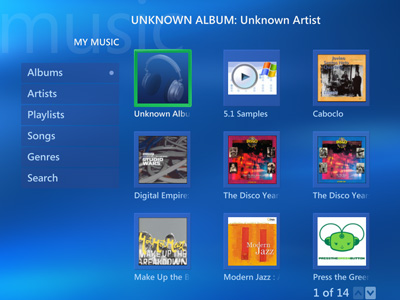 Windows Media Center, My Music