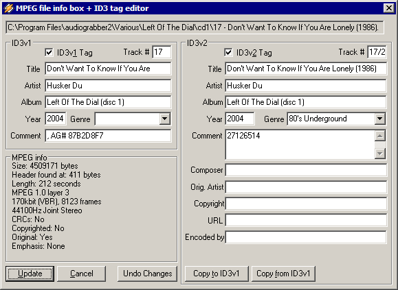 WinAmp file info dialog
