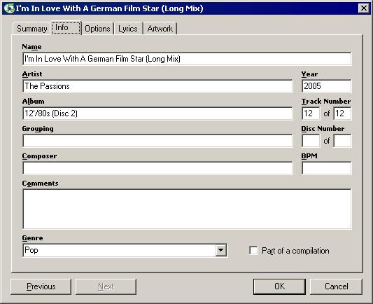 iTunes file info dialog