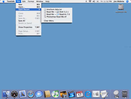 Fitts' Law for Macintosh menus