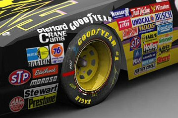 Closeup of advertising decals on NASCAR vehicle
