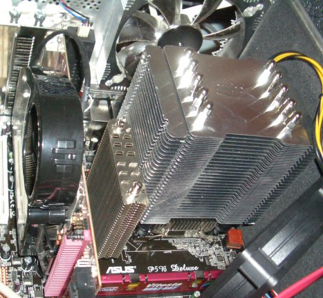 CPU and northbridge heatsinks on the Asus P5B Deluxe motherboard