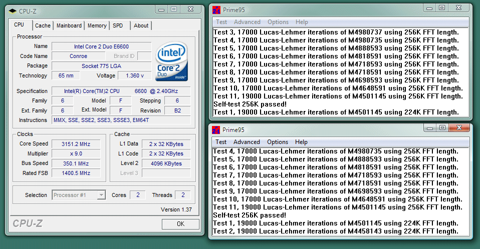 Intel Core 2 Duo overclocking results