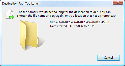 Windows Vista destination path too long error