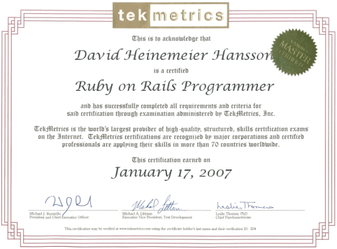 Ruby on Rails programming certificate