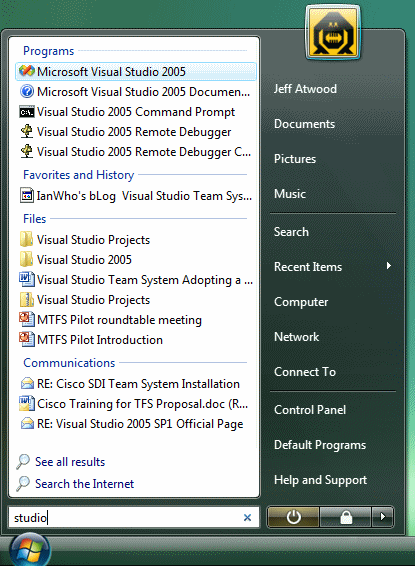 Windows Vista start menu text search