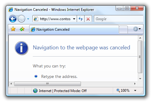 IE's Navigation Canceled error