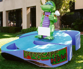 The IE logo on Netscape's lawn