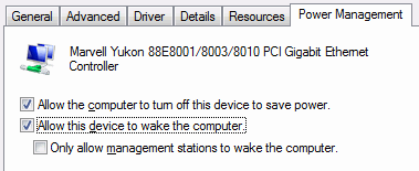 network adapter device properties, power management tab, Allow this device to wake the computer