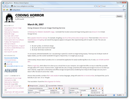 small screenshot of Coding Horror in IE7