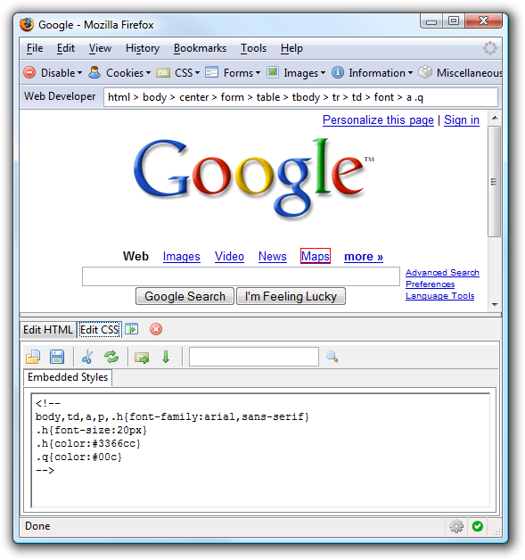 Firefox Web Developer Extension screenshot