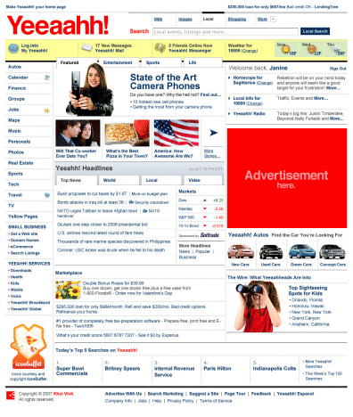 Yahoo! homepage, redesigned
