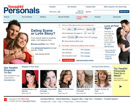Yahoo! personals, redesigned