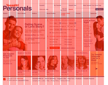 Yahoo! personals, redesigned with grid overlaid