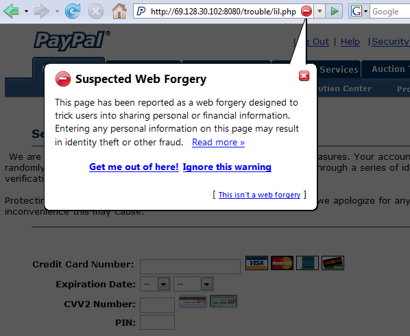Firefox: suspected web forgery