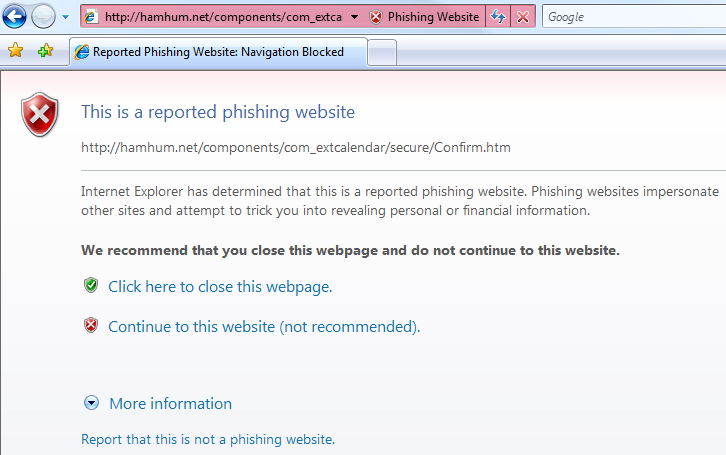 Internet Explorer 7: reported phishing website