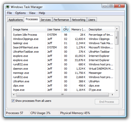 Task Manager, showing system idle process