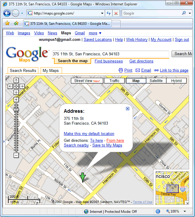 Location mapped in Google Maps