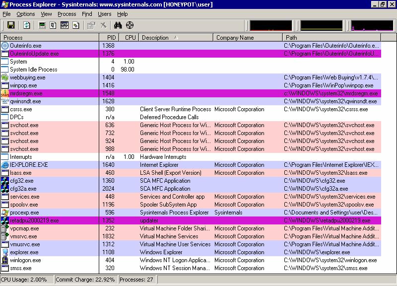 spyware: process explorer screenshot