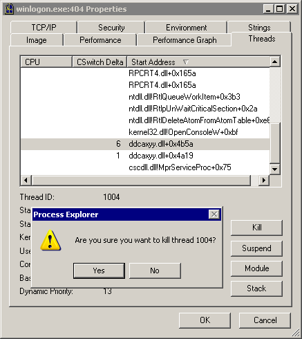 spyware: killing threads in process explorer