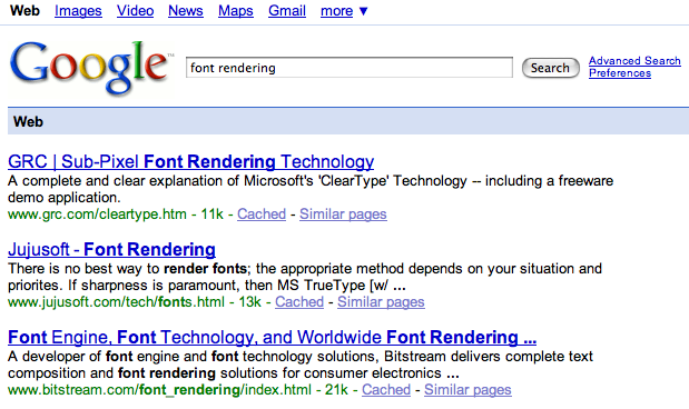 Font rendering in Safari 3 beta for Windows