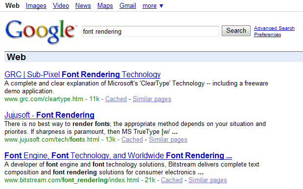 Font rendering in IE7