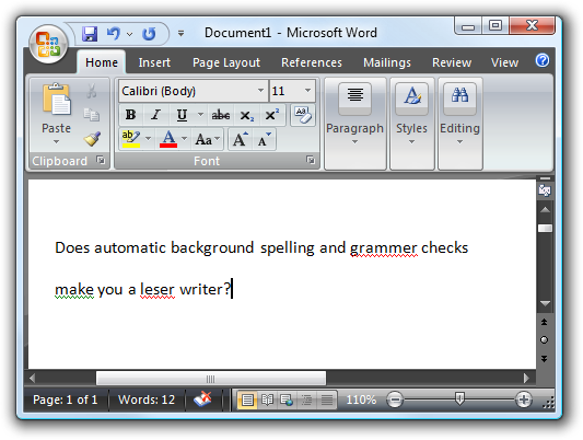 Microsoft Word grammar and spelling checker