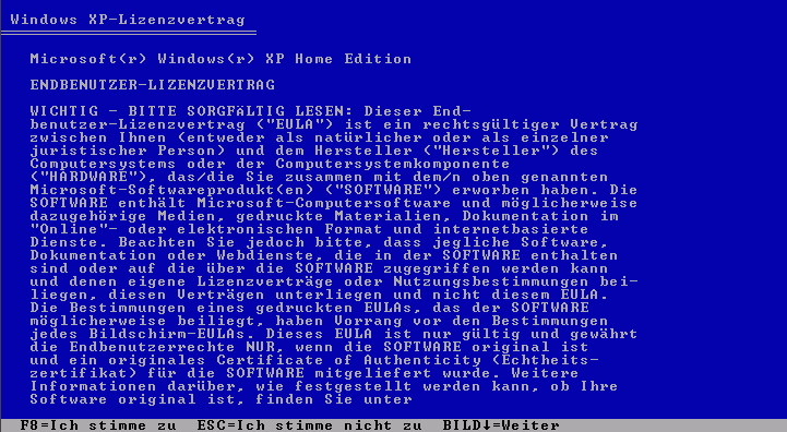 Windows XP EULA text in German