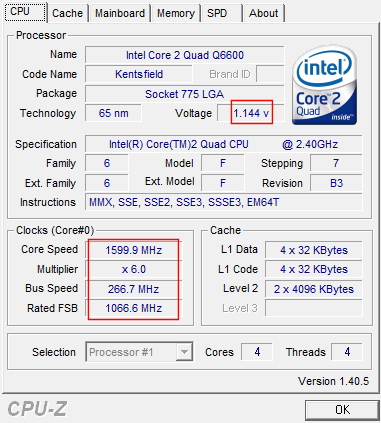 CPU-Z, stock settings, EIST low