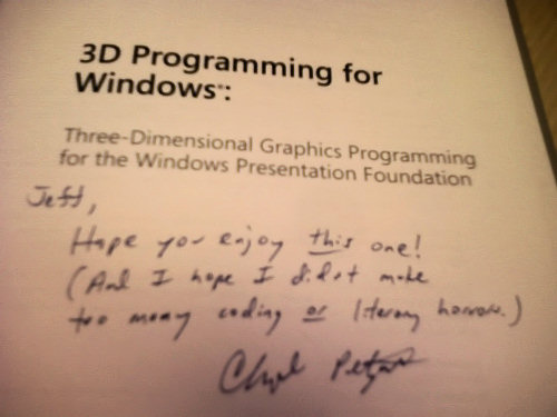 book inscription: Jeff, Hope you enjoy this one! (And I hope I didn't make too many coding or literary horrors.)
