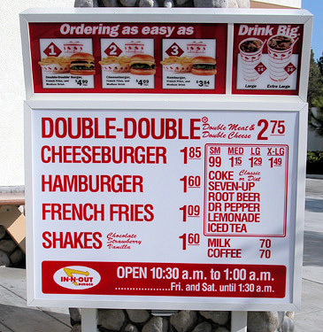 In-n-Out Burger menu