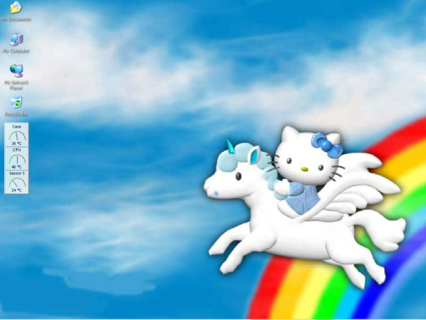 A screenshot of my windows desktop. Oh Hello Kitty, I've fallen in love with you all over again.