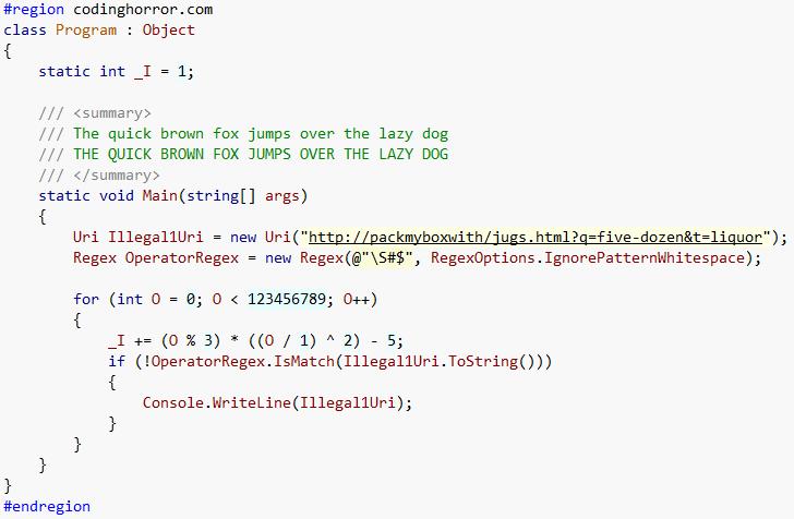 Consolas font, code sample