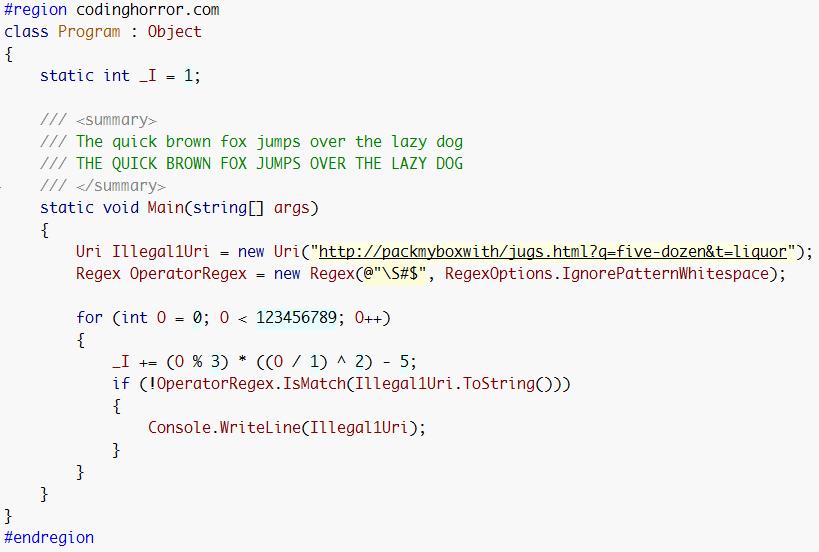 Monaco font, code sample