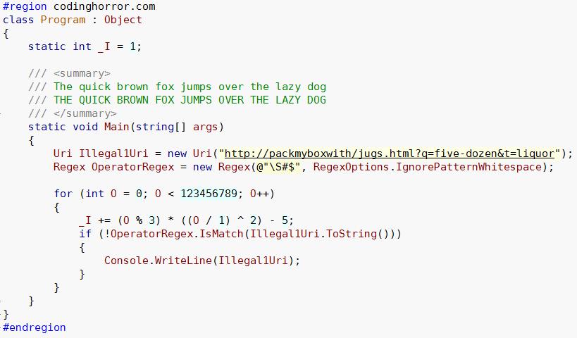Vera Sans Mono font, code sample