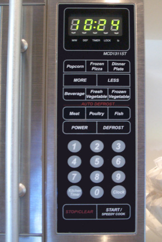 Controls on a newer microwave