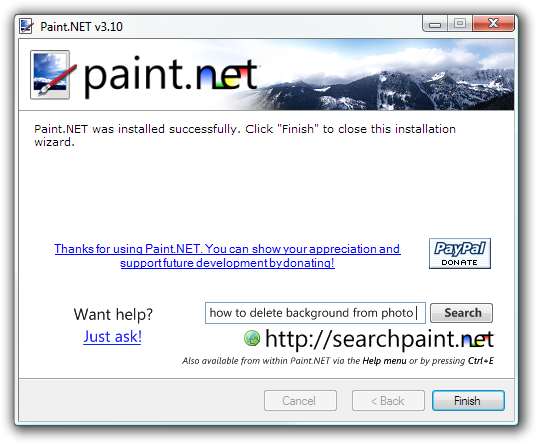 Paint.NET install donation dialog